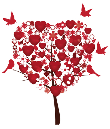 love tree with red hearts, flowers and red birds