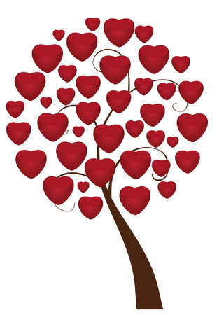 love tree with red hearts Vector