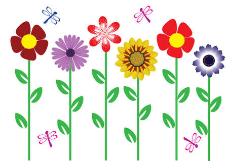 retro flowers with dragonflies Stock Vector - 8557926