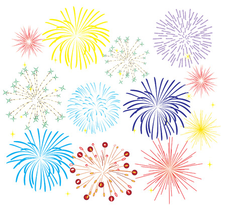 white star line: fireworks on white background