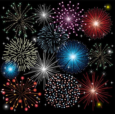 black background: fireworks on black background
