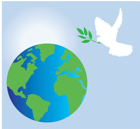dove with olive branch and earth background 일러스트