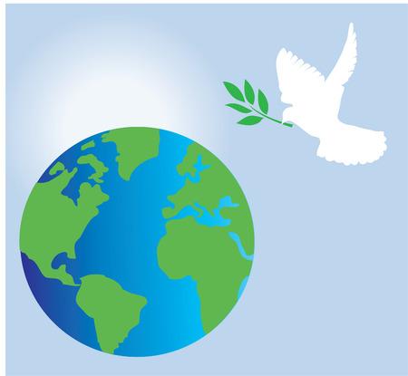 fondos religiosos: Paloma con el ramo de olivo y el fondo de la tierra