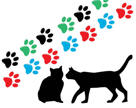cats silhouettes and cat paws Vettoriali