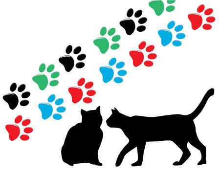 pazur: silhouettes kotów i kot Łapy Ilustracja