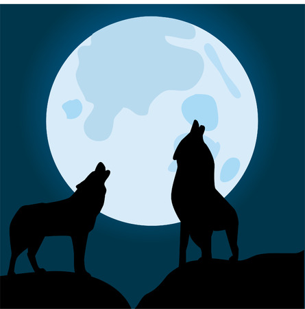 Wolven howling at the moon Stock Illustratie