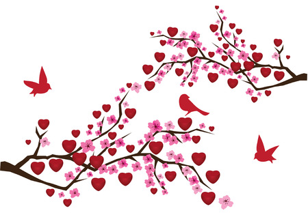 blossom branches with red hearts and birds