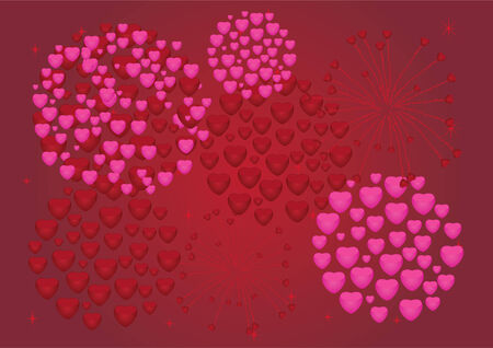 red and pink heart fireworks Vector