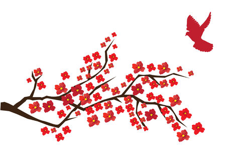 japanese style: blossom branch with red dove