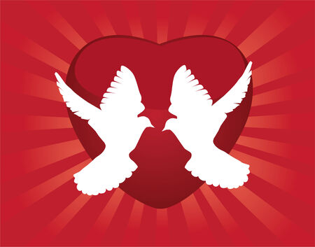 white doves and red heart background Vettoriali