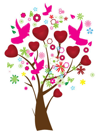season: valentine tree with hearts, flowers and pink doves