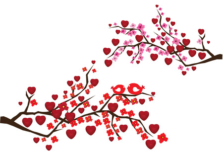 japanese style: blossom branches with red hearts and birds