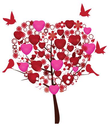 wedding backdrop: albero di San Valentino con cuori, fiori e uccelli Vettoriali