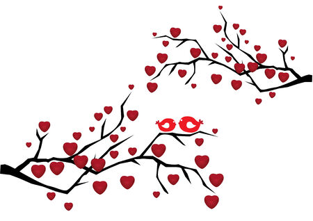 romantic picture: two branches with red hearts and birds