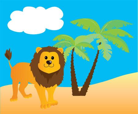 Cartoon leeuw en zomer achtergrond Stock Illustratie