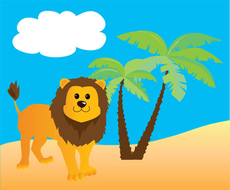 large group of animals: cartoon lion and summer background