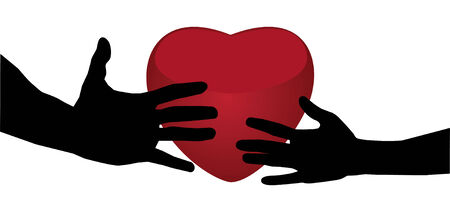 2 objects: two hands and heart background
