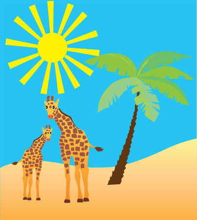 two giraffes and summer background