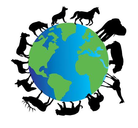 planeet aarde met dieren silhouetten
