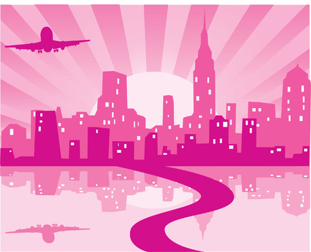 city background: pink city background with plane, road and reflection