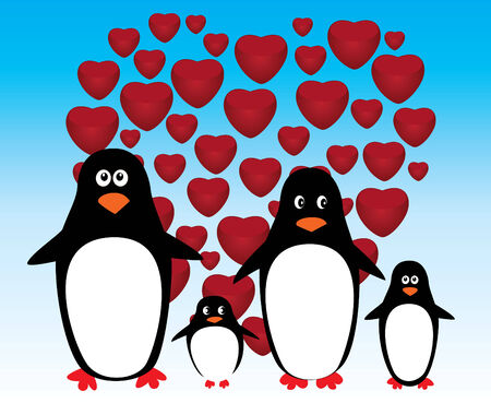 card with penguin family and red heart background Vector