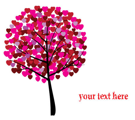 valentine tree with hearts and space for your text Illustration