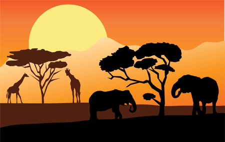 african landscape with elephants and giraffes Stock Vector - 8750195