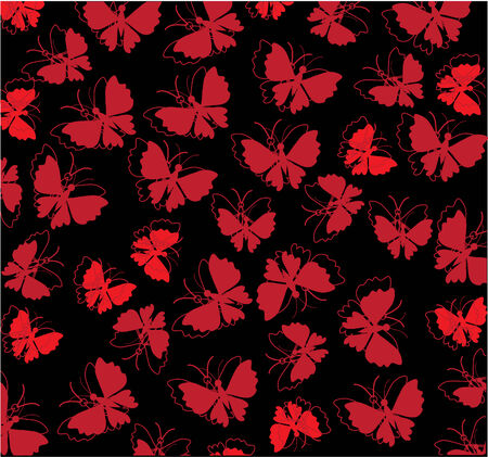 red butterflies background on black