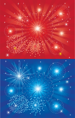 celebration background: blue and red fireworks