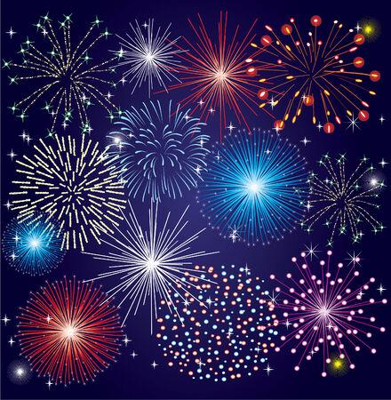 blue green background: different fireworks Illustration