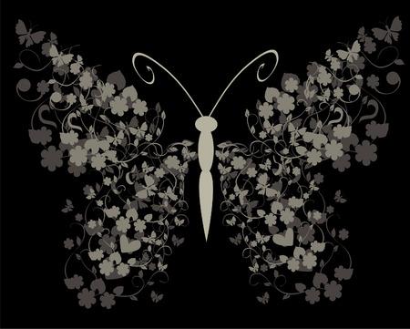 vintage floral butterfly on black background