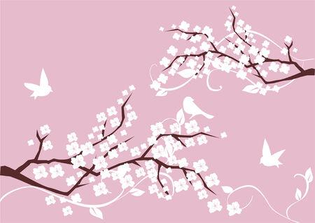 azahar: ramas de flor con flores blancas y aves