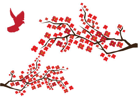 japanese style: blossom branches with red dove