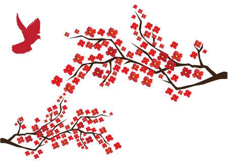 flor de durazno: flor de ramas con Paloma rojo Vectores