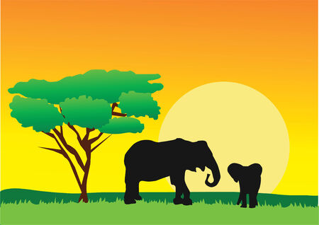african landscape with elephants Vector