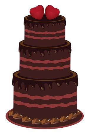 vector chocolade cake met rode harten op de top Stock Illustratie