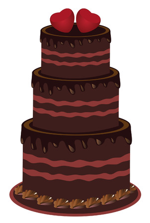 wedding cake: vector chocolate cake with red hearts on top