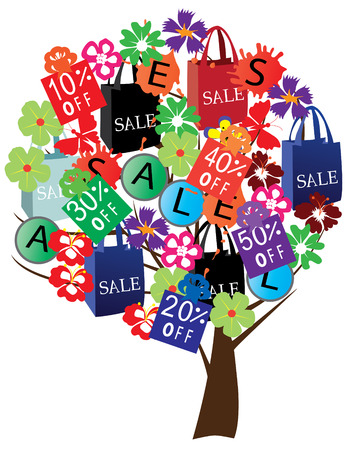 vector sale tree with shopping bags Stock Vector - 8891977