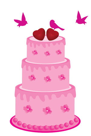 wedding cake: vector pink cake with flowers and birds