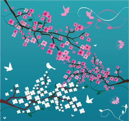azahar: vector de fondo floral con ramas de flor y aves