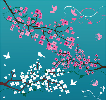 japanese style: vector floral background with blossom branches and birds