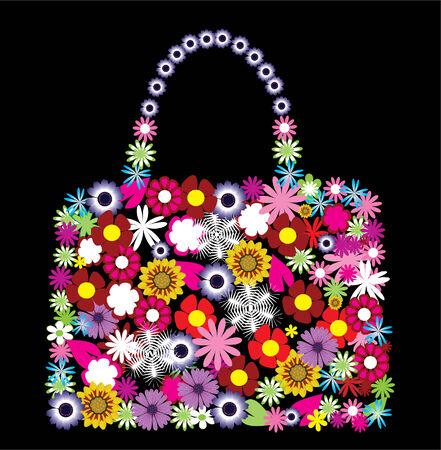 fashion design: vector floral bag