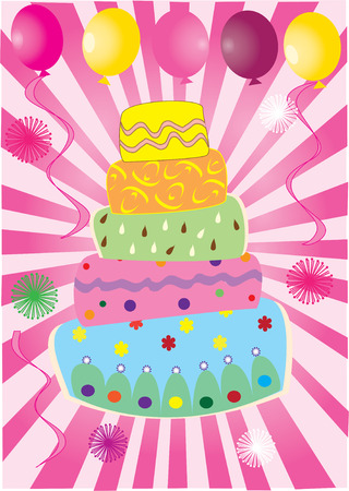 vector fun birthday cake with balloons Vector