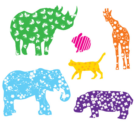 silhouettes: vector fun cartoon animals with different patterns