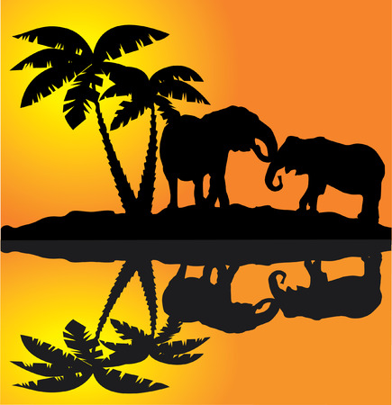 art painting: vector african landscape with elephants and reflection