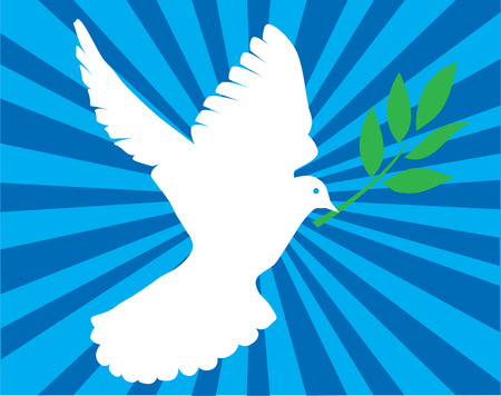 オリーブの枝と白鳩  イラスト・ベクター素材