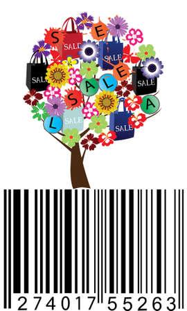 verkoop boom met bar-code