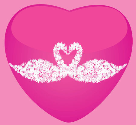 pink heart with floral swans Vector