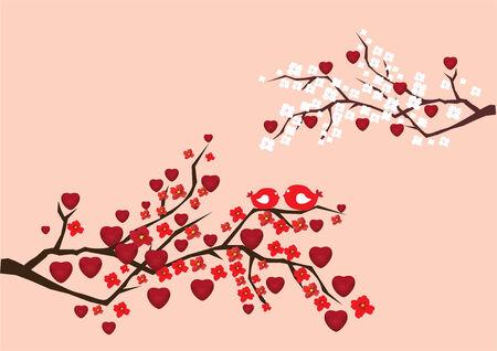 Liebe Zweige mit Vögeln, Blumen und Herzen Standard-Bild - 8923349