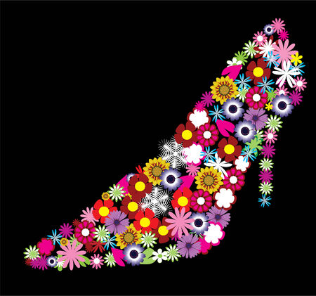 vector floral shoe Illustration